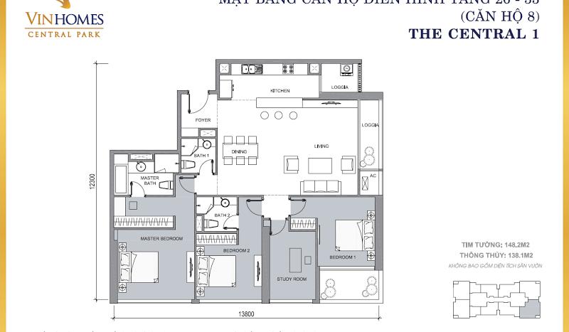 Mặt bằng điển hình căn hộ Vinhomes Central Park 2 PN