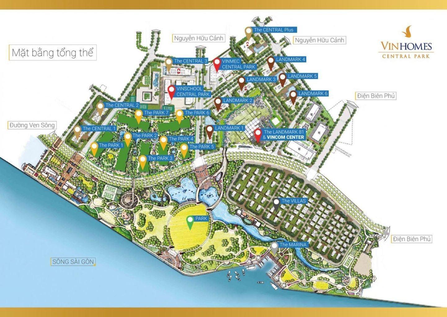 Mặt bằng tổng thể căn hộ Vinhomes Central Park cho thuê